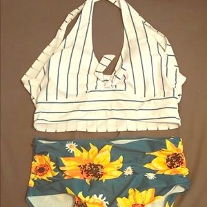 XXL high waisted floral bathing suit NWT